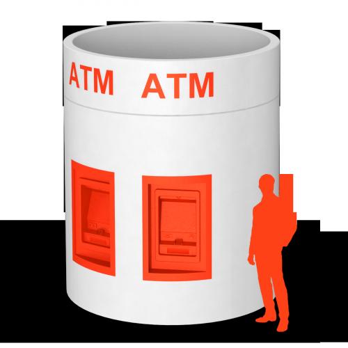 Veloform bboxx Geldautomat Window hochstabile, runde ATM Umhausung
