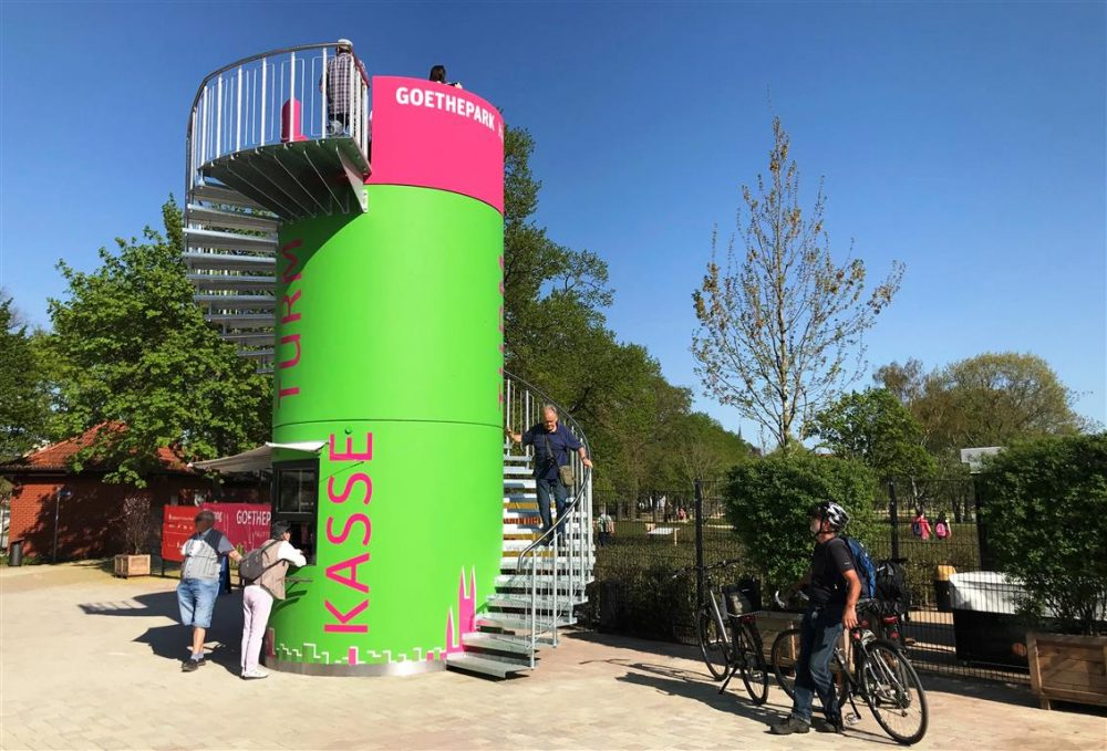 Mobiler Eventturm bei Landesgartenschau Burg 2018 Veloform bboxx Eventtürme
