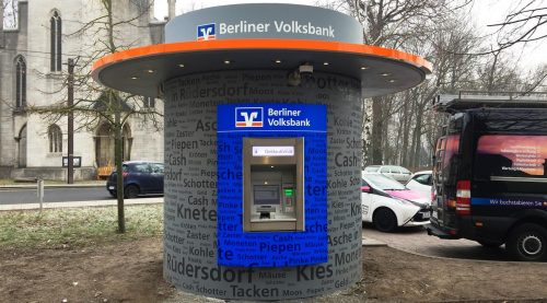 Veloform bboxx Geldautomat Window Vordach Berliner Volksbank